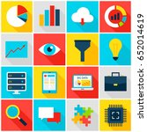 big data colorful icons. vector ... | Shutterstock .eps vector #652014619