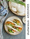 japanese style steamed buns for ... | Shutterstock . vector #652019455