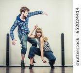 two modern dancers couple woman ... | Shutterstock . vector #652024414