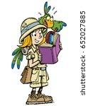 girl on safari | Shutterstock .eps vector #652027885