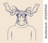 hipster animal illustration | Shutterstock .eps vector #652029565