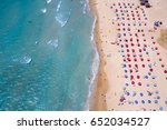 tropical beach with colorful... | Shutterstock . vector #652034527