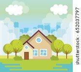 colorful houses design | Shutterstock .eps vector #652037797