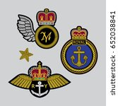 vector set of royal patches.... | Shutterstock .eps vector #652038841