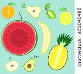 colorful summer cut fresh... | Shutterstock .eps vector #652040485