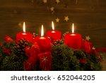 advent wreath for christmas | Shutterstock . vector #652044205