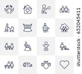 set of 16 people outline icons... | Shutterstock .eps vector #652045411