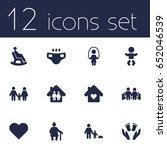 set of 12 family icons set... | Shutterstock .eps vector #652046539