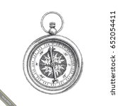vintage compass hand drawing... | Shutterstock .eps vector #652054411