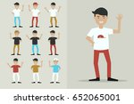 boy characters say goodbye ... | Shutterstock .eps vector #652065001