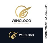 luxury wing logo template. | Shutterstock .eps vector #652068334