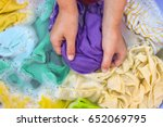 female hands wash colored... | Shutterstock . vector #652069795