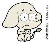 cartoon unsure elephant   Shutterstock .eps vector #652078411
