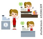 vector female cashier... | Shutterstock .eps vector #652081309