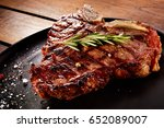 grilled beef steak with... | Shutterstock . vector #652089007