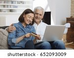 mature couple connected with... | Shutterstock . vector #652093009