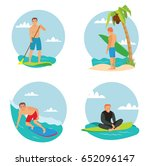 surfing man flat cartoon vector ... | Shutterstock .eps vector #652096147