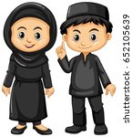 indonesian boy and girl in... | Shutterstock .eps vector #652105639