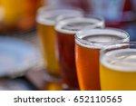 craft micro brewery beer flight ... | Shutterstock . vector #652110565