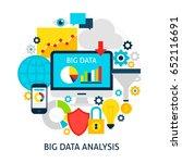 big data analysis flat concept. ... | Shutterstock .eps vector #652116691