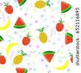 summer fruit pattern seamless.... | Shutterstock .eps vector #652116895