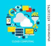 cloud computing flat concept.... | Shutterstock .eps vector #652118791