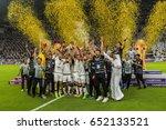 Small photo of Doha, Qatar May 19, 2017 : Team photo holding the Cup afther their win over Al Rayyan during the Qatar Emir Cup Final match Al Sadd vs Al Rayyan