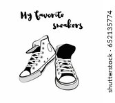 sneakers shoes. hand drawn... | Shutterstock .eps vector #652135774