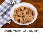 a bowl of wheat bran cereal... | Shutterstock . vector #652139434