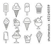 ice cream  thin monochrome icon ... | Shutterstock .eps vector #652140559