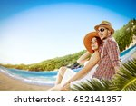 two lovers on beach and summer... | Shutterstock . vector #652141357