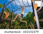 little girl climbing at...   Shutterstock . vector #652152379