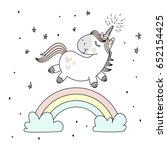 magic cute unicorn  walking on... | Shutterstock .eps vector #652154425