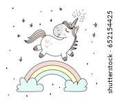 Stock vector magic cute unicorn walking on the rainbow doodle nursery art 652154425