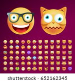 set of cute emoticons on dark... | Shutterstock .eps vector #652162345