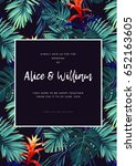 floral wedding invitation with... | Shutterstock .eps vector #652163605