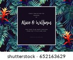 floral wedding invitation with... | Shutterstock .eps vector #652163629