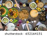top view of family and friends... | Shutterstock . vector #652164151