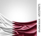 qatar flag of silk with... | Shutterstock . vector #652190071
