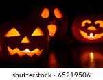 three jack o lantern pumpkins... | Shutterstock . vector #65219506