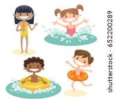 set of isolated kids playing at ... | Shutterstock .eps vector #652200289