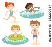 set of isolated cartoon kids... | Shutterstock .eps vector #652200319