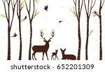 birch tree with deer and birds... | Shutterstock . vector #652201309