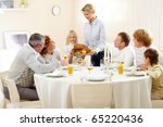 portrait of big family sitting... | Shutterstock . vector #65220436