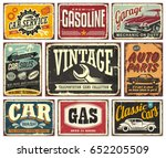 vintage transportation signs... | Shutterstock .eps vector #652205509