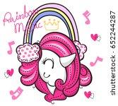 beautiful unicorn girl... | Shutterstock .eps vector #652244287
