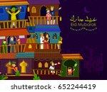muslim families wishing eid...   Shutterstock .eps vector #652244419