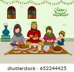happy muslim family enjoying... | Shutterstock .eps vector #652244425