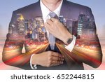 double exposure of businessman... | Shutterstock . vector #652244815