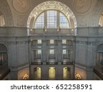 San Francisco, California, USA - June 1, 2017: San Francisco City Hall. The Rotunda walls with the Gallery Window as seen from the 4th floor facing north. - stock photo